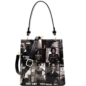 MB5824P Magazine Print Patent Jewel-Top Frame 2-Way Satchel Black