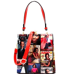MB5824 Magazine Print Patent Jewel-Top Frame 2-Way Satchel Red