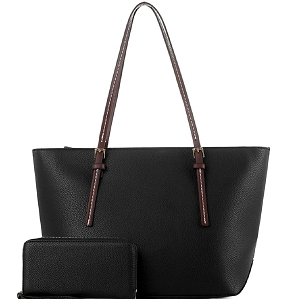 MS1266S Two-Tone Classic Shopper Tote Wallet SET Black/Coffee