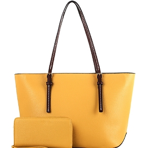 MS1266S Two-Tone Classic Shopper Tote Wallet SET Mustard/Coffee
