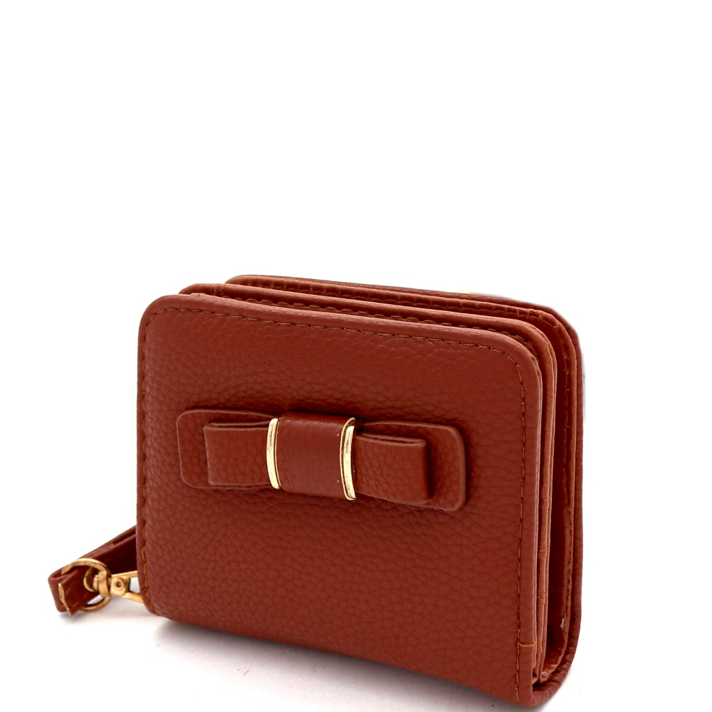 RCW0100 Bow Accent Zipper Compartment Small Bi-Fold Wristlet Wallet Brown