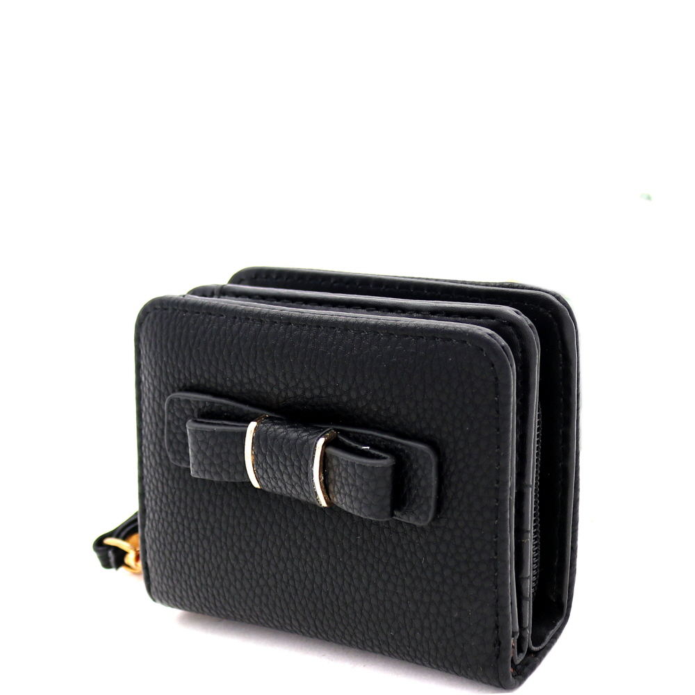 RCW0100 Bow Accent Zipper Compartment Small Bi-Fold Wristlet Wallet Black