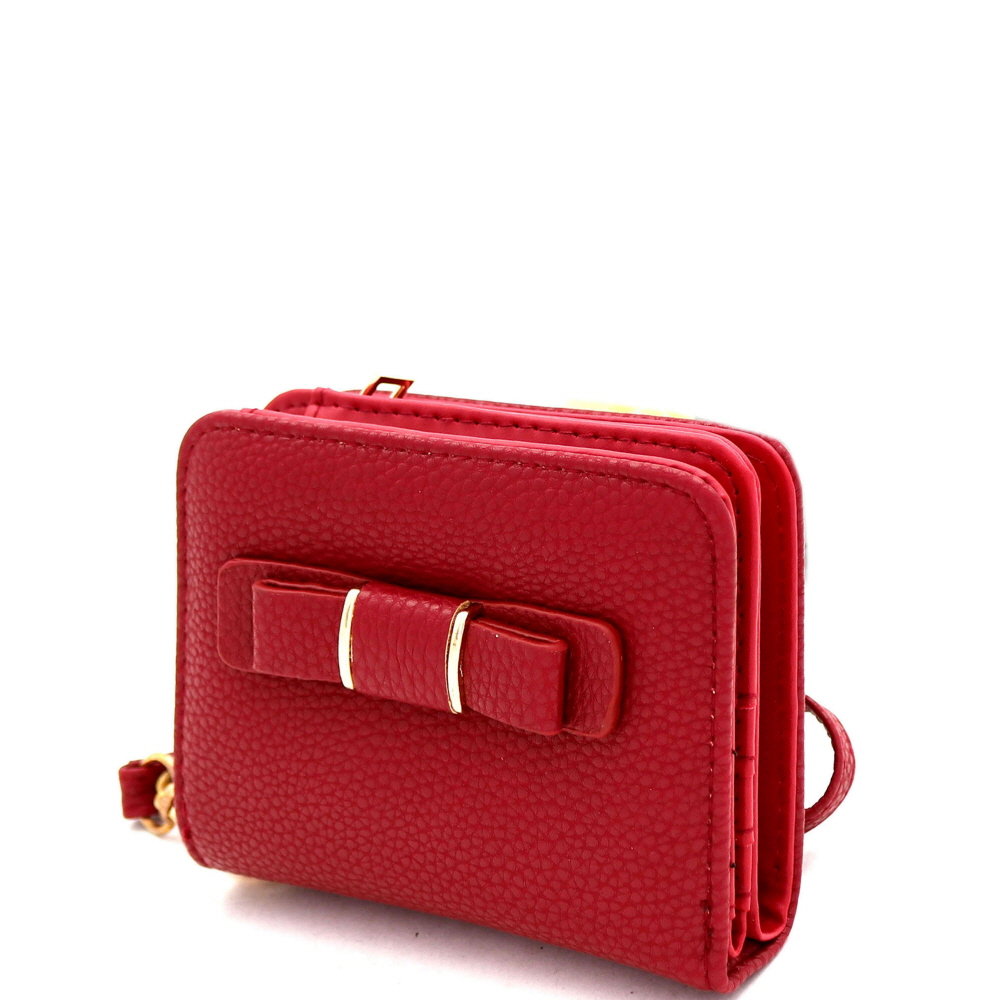 RCW0100 Bow Accent Zipper Compartment Small Bi-Fold Wristlet Wallet Red