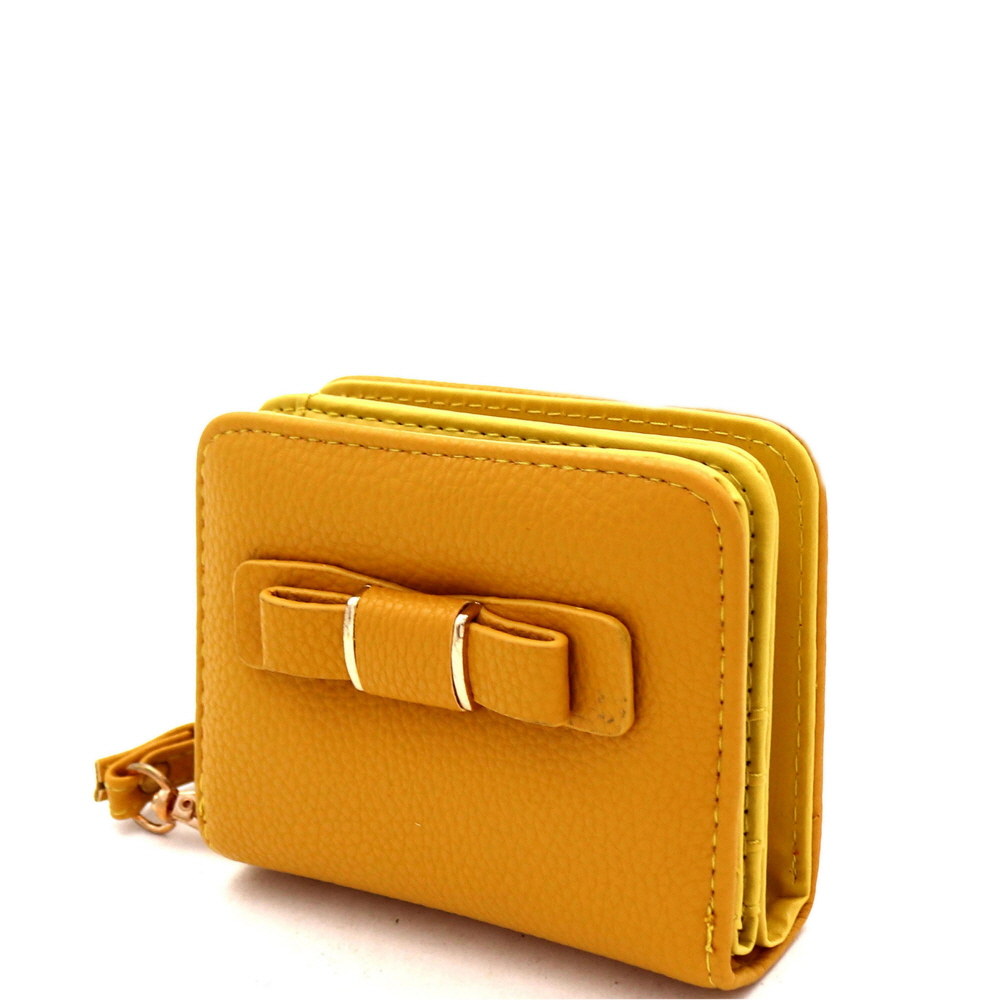 RCW0100 Bow Accent Zipper Compartment Small Bi-Fold Wristlet Wallet Mustard