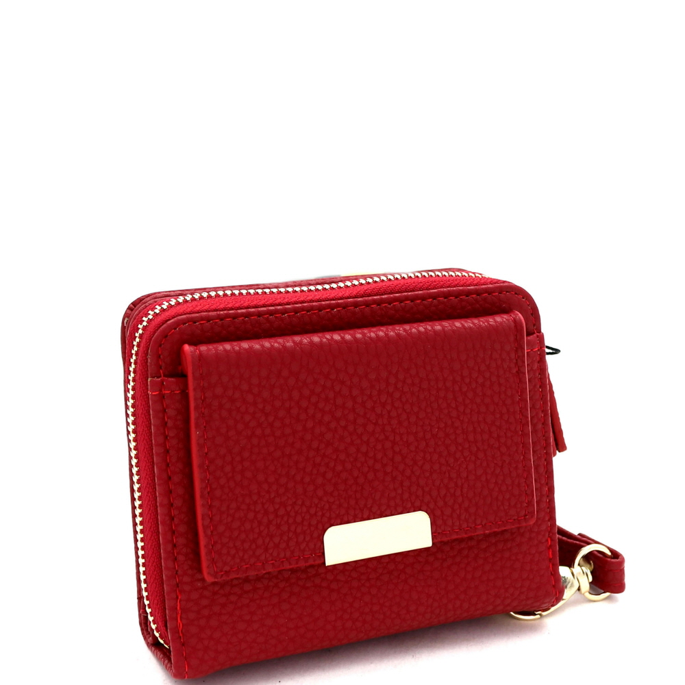 RCW0099 Zipper Compartment Small Bi-Fold Wristlet Wallet Red