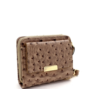 RCW0099N Ostrich Print Zipper Compartment Small Bi-Fold Wristlet Wallet Taupe