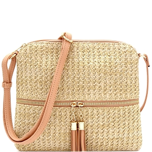 ST5345 Tassel Front Pocket Knitted Straw Cross Body Nude-Pink
