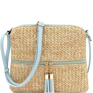 ST5345 Tassel Front Pocket Knitted Straw Cross Body Blue