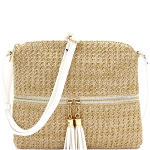 ST5345 Tassel Front Pocket Knitted Straw Cross Body White