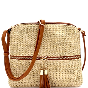 ST5345 Tassel Front Pocket Knitted Straw Cross Body Tan
