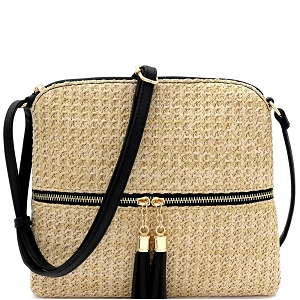 ST5345 Tassel Front Pocket Knitted Straw Cross Body Black