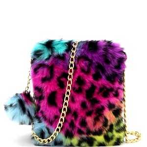 HMC1034 Pom Pom Accent Faux Fur Chain Cellphone Crossbody Multi Leopard