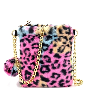 HMC1056 Pom Pom Accent Faux Fur Chain Cellphone Crossbody Multi Leopard
