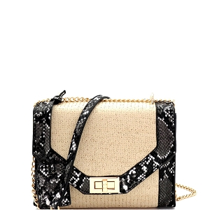 HPC3015 Snake Print Accent Woven Straw Shoulder Bag Black