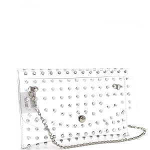 HPC3052 Spike Stud Accent Transparent Clear Medium Envelope Clutch Silver