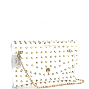 HPC3052 Spike Stud Accent Transparent Clear Medium Envelope Clutch Gold