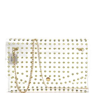 HPC3053 Spike Stud Accent Transparent Clear Large Envelope Clutch Gold
