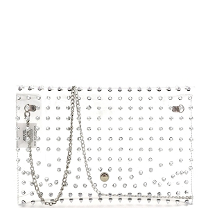 HPC3053 Spike Stud Accent Transparent Clear Large Envelope Clutch Silver