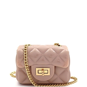 HPC3068 Quilted Effect Turn-Lock Jelly Micro Mini Cross Body Beige