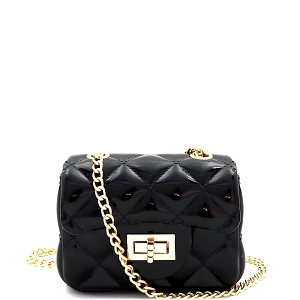 HPC3068 Quilted Effect Turn-Lock Jelly Micro Mini Cross Body Black