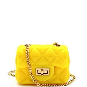 HPC3068 Quilted Effect Turn-Lock Jelly Micro Mini Cross Body Yellow