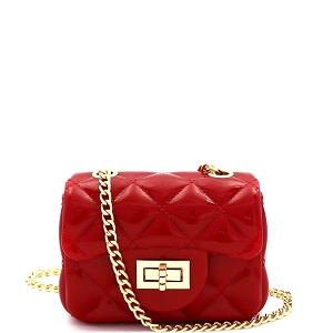 HPC3068 Quilted Effect Turn-Lock Jelly Micro Mini Cross Body Red