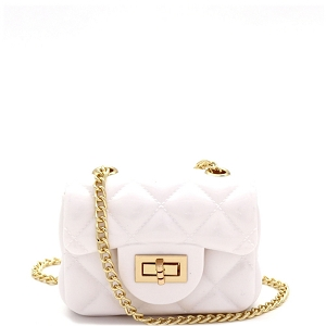 HPC3068 Quilted Effect Turn-Lock Jelly Micro Mini Cross Body White