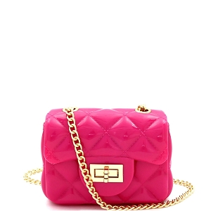 HPC3068 Quilted Effect Turn-Lock Jelly Micro Mini Cross Body Fuchsia