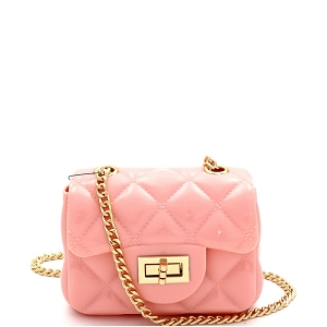HPC3068 Quilted Effect Turn-Lock Jelly Micro Mini Cross Body Pink