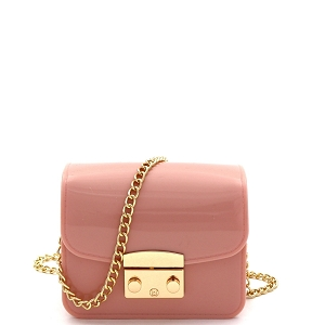 HPC3069 Pinch-Lock Accent Jelly Micro Mini Cross Body Pink