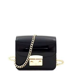 HPC3069 Pinch-Lock Accent Jelly Micro Mini Cross Body Black