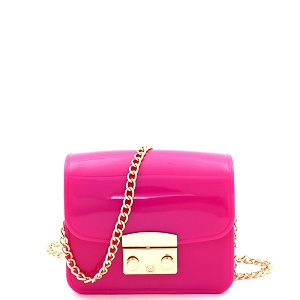 HPC3069 Pinch-Lock Accent Jelly Micro Mini Cross Body Fuchsia