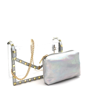 HPC3080 Pyramid Stud Accent 2 in 1 Transparent Clear Metallic Shoulder Bag Silver