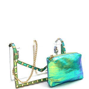 HPC3080 Pyramid Stud Accent 2 in 1 Transparent Clear Metallic Shoulder Bag Green