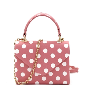 HPC3092 Small Top-Handle Mini Retro Box Flap Satchel Cross Body Polka Dot Pink