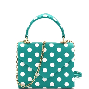 HPC3092 Small Top-Handle Mini Retro Box Flap Satchel Cross Body Polka Dot Teal