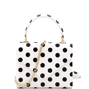 HPC3092 Small Top-Handle Mini Retro Box Flap Satchel Cross Body Polka Dot Black/White