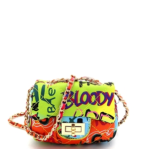 HPC3096 Graffiti Effect Micro Mini Turn-lock Shoulder Bag Multi