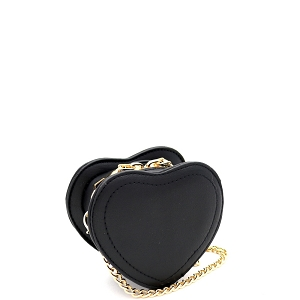 HPC3103 Micro Mini Cute Heart-Shaped Novelty Dressy Cross Body Black