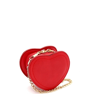 HPC3103 Micro Mini Cute Heart-Shaped Novelty Dressy Cross Body Red