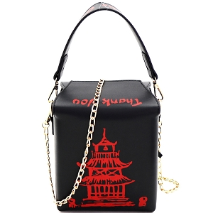 HPC3172 Unquie Chinese Food To-Go Box Figure Handle Cross Body Black
