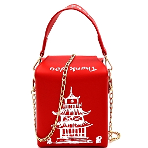 HPC3172 Unquie Chinese Food To-Go Box Figure Handle Cross Body Red