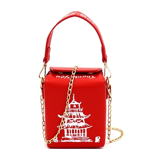 HPC3226 Unique Chinese Food To-Go Box Figure Small Cross Body Red