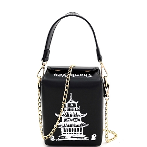 HPC3226 Unique Chinese Food To-Go Box Figure Small Cross Body Black
