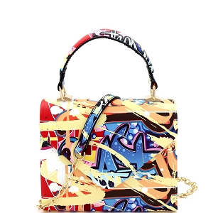 HPC3227 Abstract Graffiti Print Small Top-Handle Retro Box Flap Satchel Cross Body Multi-2