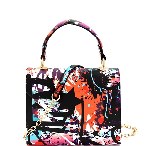 HPC3227 Abstract Graffiti Print Small Top-Handle Retro Box Flap Satchel Cross Body Multi-1