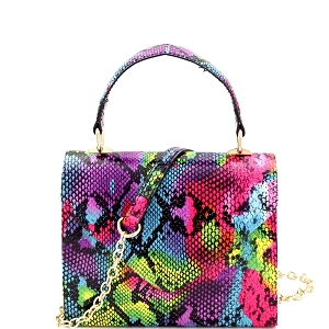 HPC3237 Bright Multicolor Snake Print Small Top-Handle Retro Box Flap Satchel Cross Body Multicolor