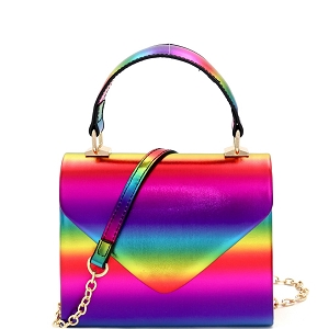 HPC3254 Multicolor Rainbow Metallic Small Top-Handle Retro Box Flap Satchel Cross Body Multi