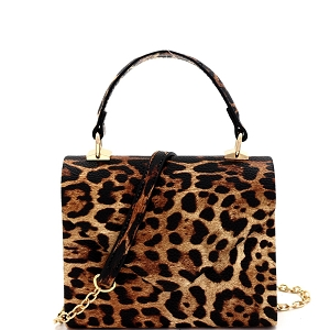 HPC3295 Leopard Print Small Top-Handle Retro Box Flap Satchel Cross Body Tan