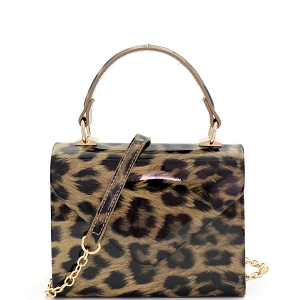 HPC3296 Leopard Print Patent Small Top-Handle Box Flap Satchel Beige